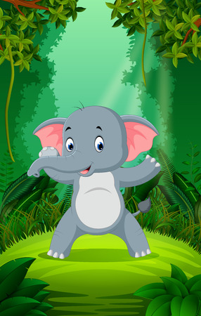 Elephant in the clear and green forest Vectores