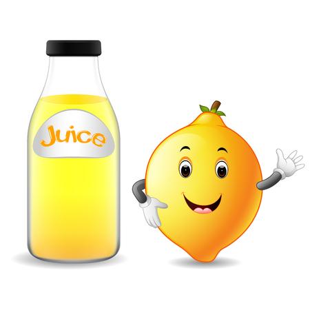 Bottle of lemon juice with cute lemon in cartoon illustration.