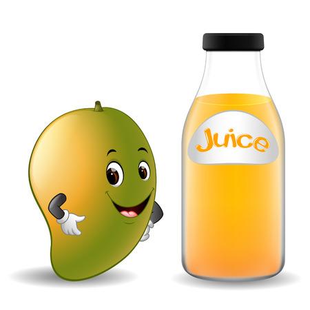 Bottle of mango juice with cute mango in cartoon illustration.