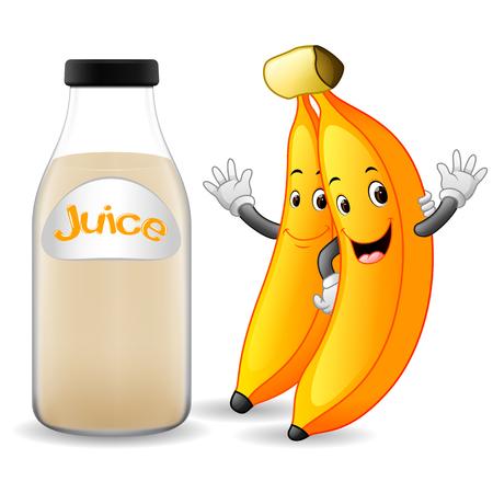Bottle of banana juice with cute banana in cartoon illustration.