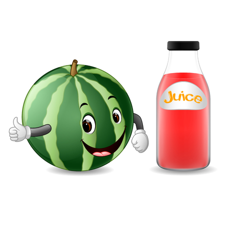 Bottle of watermelon juice with cute watermelon in cartoon illustration.