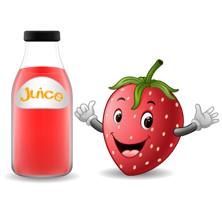 Bottle of strawberry juice with cute strawberry in cartoon illustration.