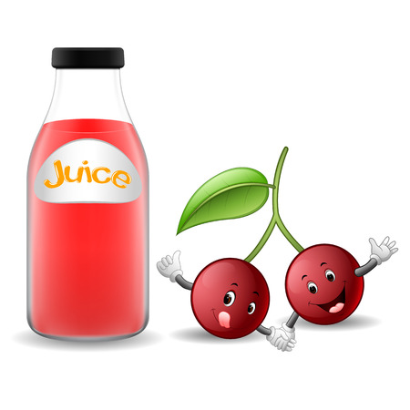 Bottle of cherry juice with cute cherry cartoon illustration.