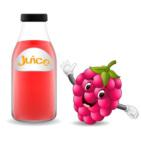 Bottle of raspberry juice with cute raspberry cartoon illustration.
