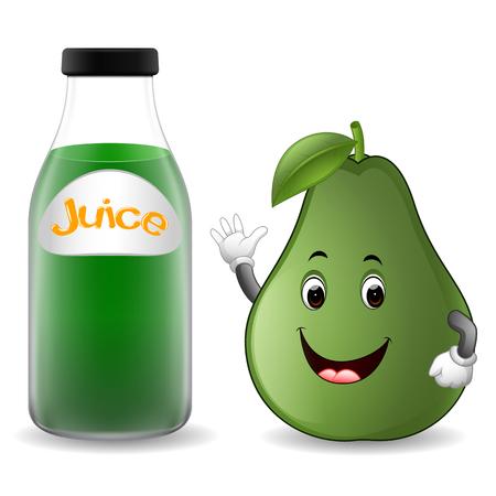 Bottle of avocado juice with cute avocado cartoon illustration.