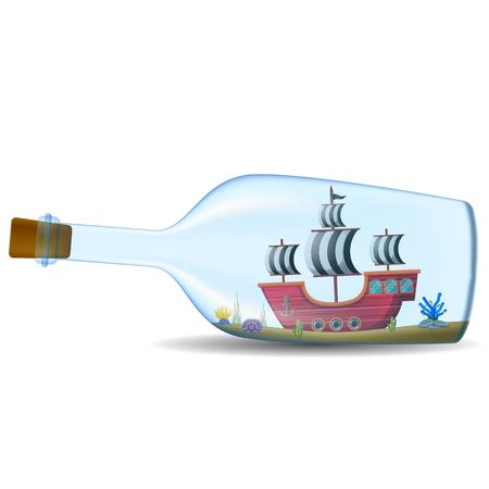 ship in the bottle on white background Illustration