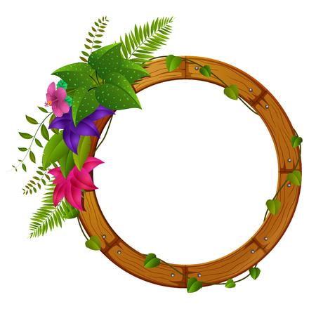 Wooden frame with flower illustration.
