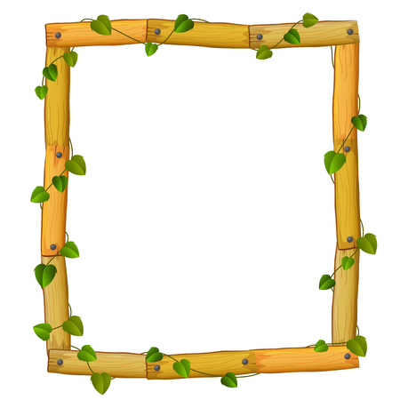 Wooden frame with roots and leaves in cartoon illustration.