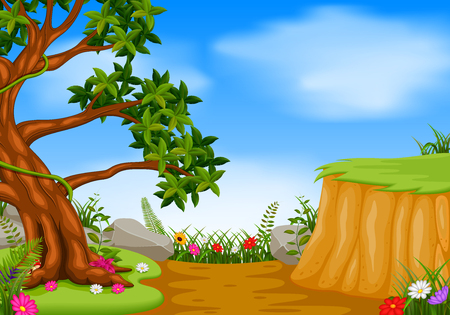 forest scene with mountain cliff Illustration