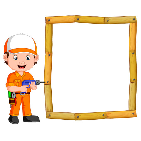 Carpenter with hand drill and wood frame illustration. Vectores
