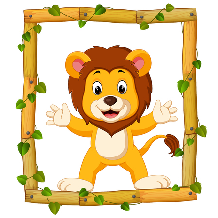 Lion on the wood frame with roots and leaf Stock Photo
