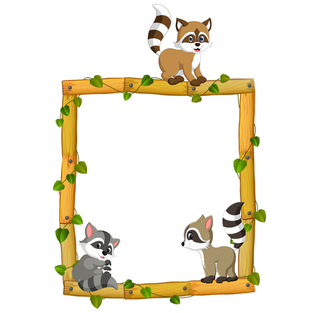 Three Raccoon on the wood frame with roots and leaf