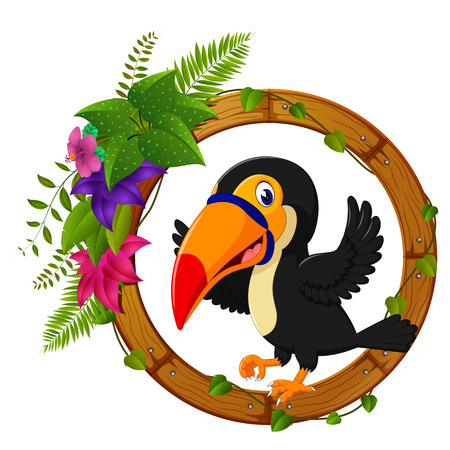 Toucan on round wood frame with flower