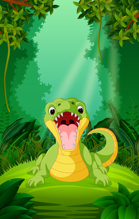 crocodile in the clear and green forest Stock Photo