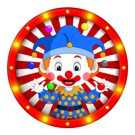 clown banner with bright bulbs Banque d'images