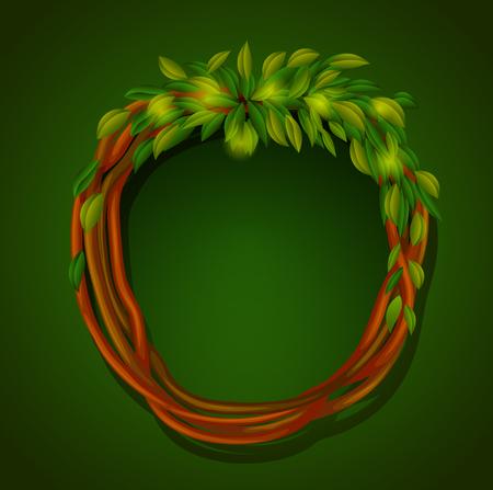 Frame of roots and green leaves