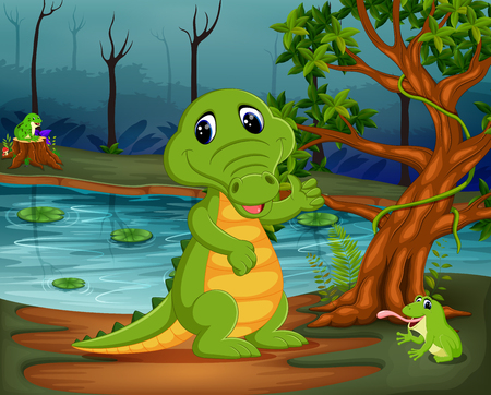 crocodile and frog in the jungle with lake scene Stock Vector - 96603611