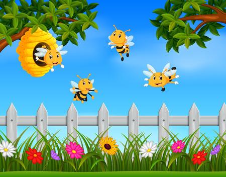 Illustration of bee flying around a beehive in the garden Stock Illustratie