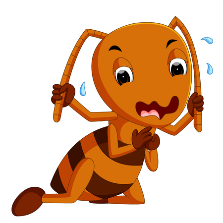 Cute brown ant crying Illustration
