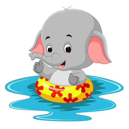 Funny elephant swimming using ringball
