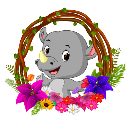 Cute rhino in root of tree frame with flower