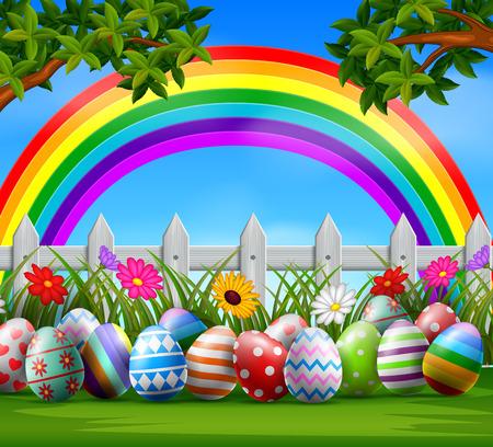 Uova di Pasqua ed arcobaleno variopinto sull'illustrazione di vettore del giardino.