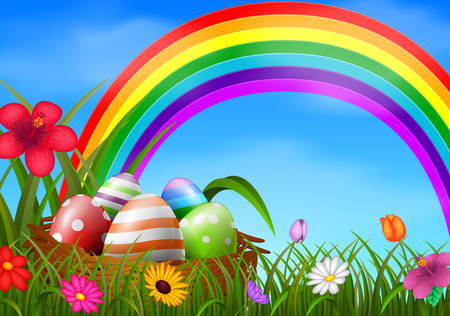 Easter eggs and colorful rainbow in the basket Vector illustration.