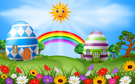 Illustration of easter eggs house with rainbow scene