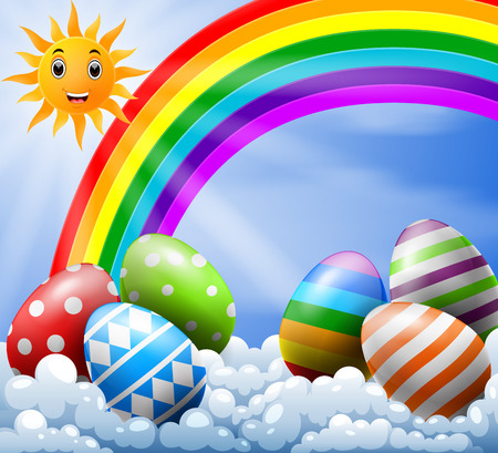sky with Easter eggs near the rainbow Vector illustration.