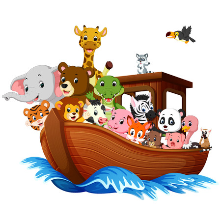 Ark boat with animals cartoon Vector illustration.