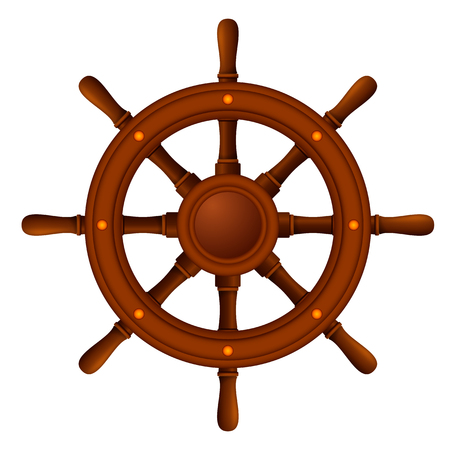 ship wheel marine wooden Vector illustration.