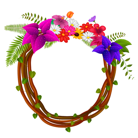 Frame of roots and flowers Vector illustration. Illustration