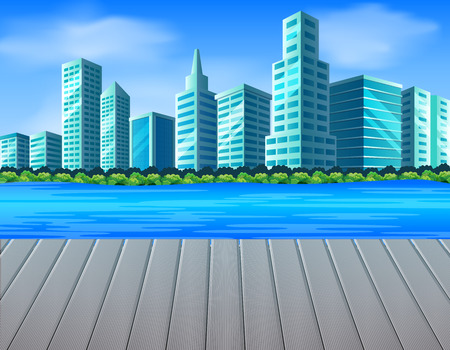 City scene with river Vector illustration.