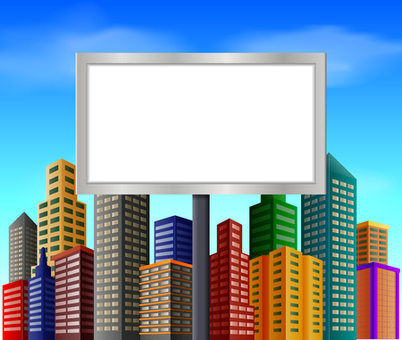 City scene with blank sign Vector illustration.