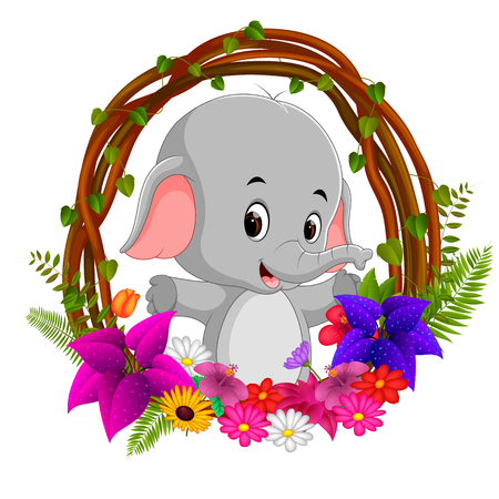 cute elephant in root of tree frame with flower Stock Photo