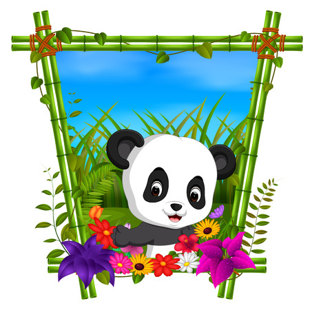 Cute Panda In Bamboo Frame With Flower Scene Stock Photo Picture