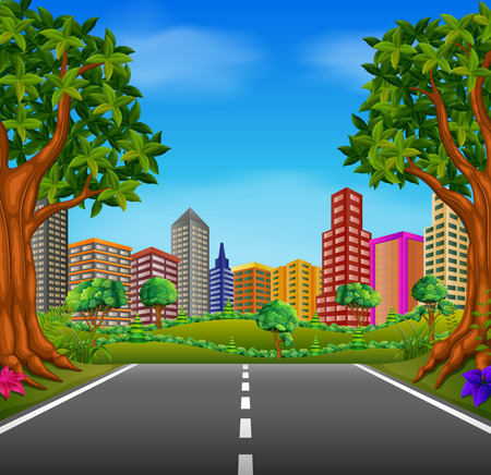 Illustration of a road to the city Stock Photo