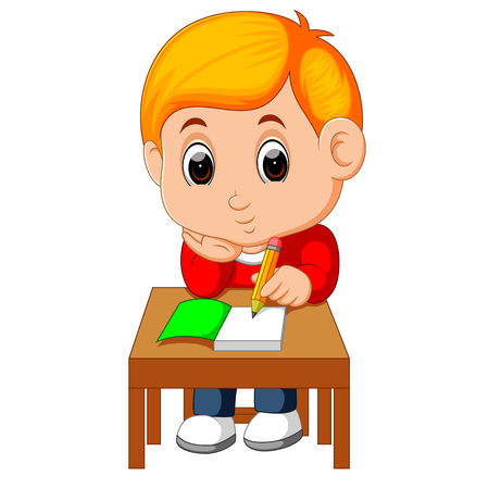 Cute boy writing and thinking be happy 일러스트