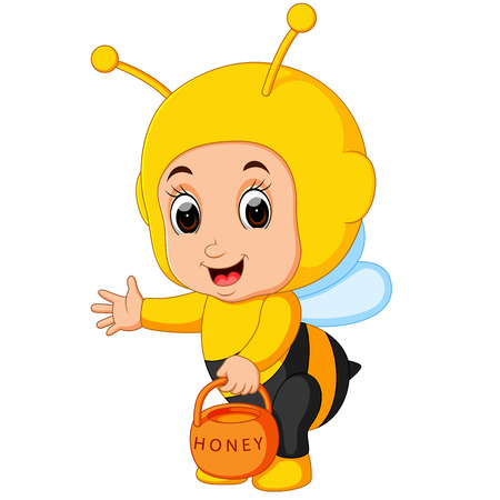 Cute boy cartoon wearing bee costume Ilustração