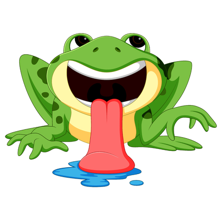 Cute tongue out frog cartoon