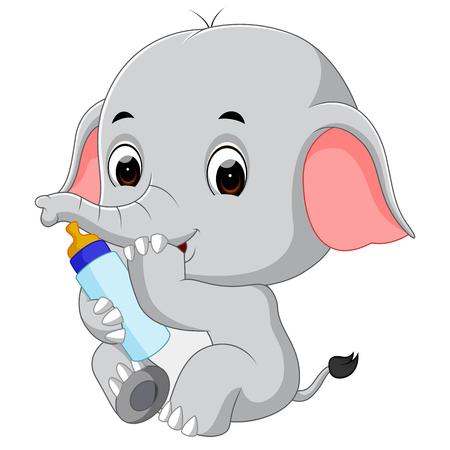 Éléphanteau avec bouteille de lait