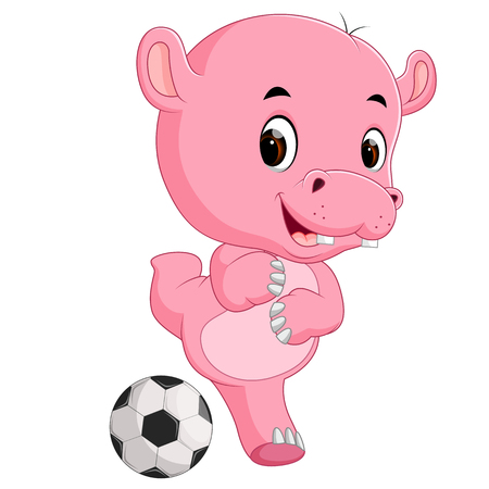 Funny hippo cartoon with ball illustration on white background. Illustration
