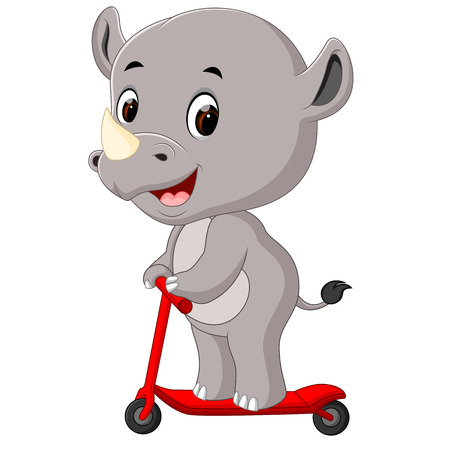 Cute rhino riding push scooter illustration on white background.