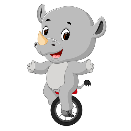 cute happy rhino riding unicycle Stock Photo
