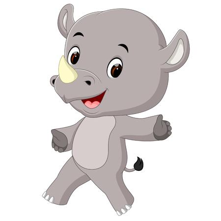 cute happy rhino cartoon