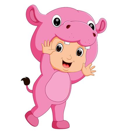 Cute boy cartoon wearing hippopotamus costume