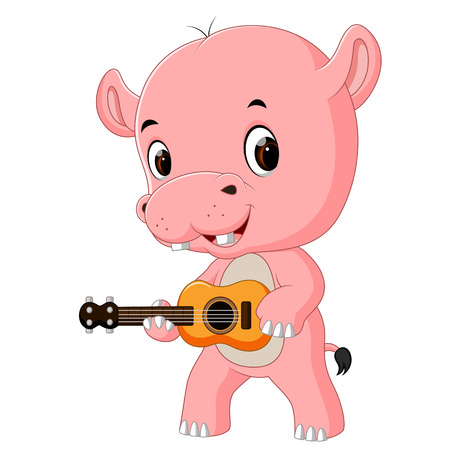 a funny singing hippo playing the guitar