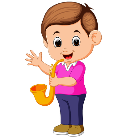 boy plays saxophone Vector illustration.