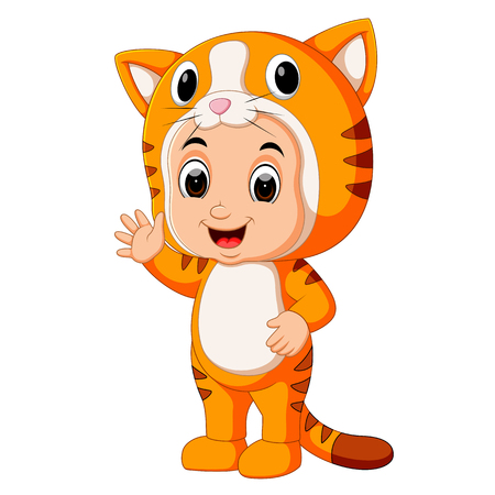 Cute kids cartoon wearing cat costume Vector illustration.