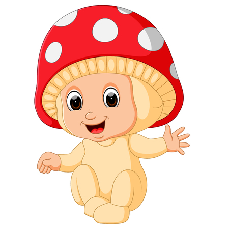 Cute kids cartoon wearing mushroom costume Vector illustration.